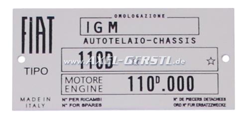 Plaquette signalétique Fiat 110 D (moteur 110D.000), alu