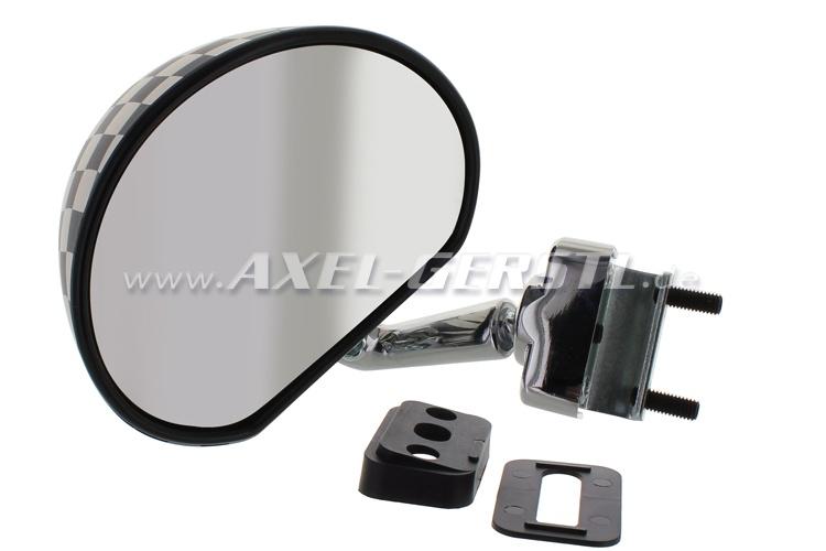 Wing mirror, door rabbet mounting, black/white checked, matt