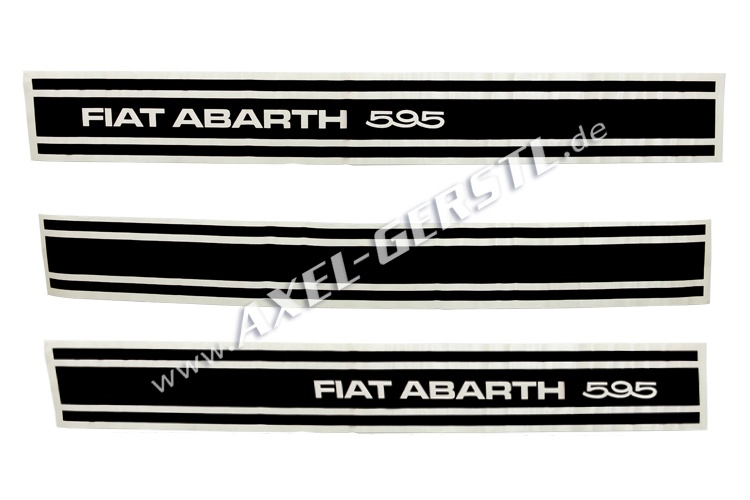 Set of 3 stickers Abarth 595, sideways, black
