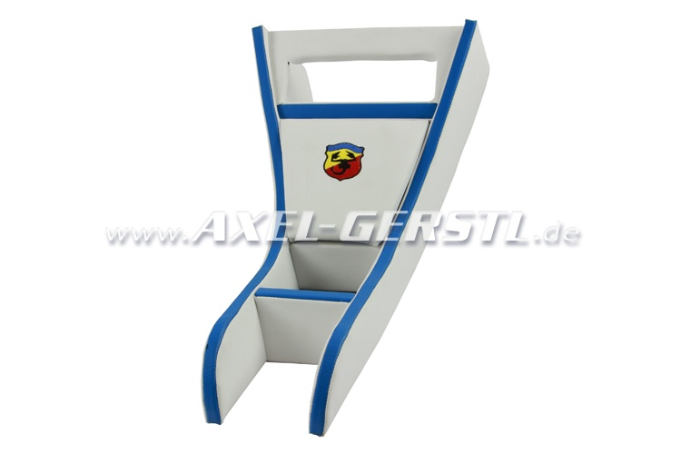Radio housing ABARTH blue & white imitation leather cover