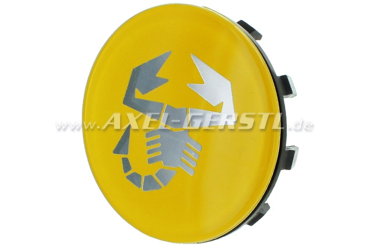 Couvercle de jante Abarth scorpion jaune, 58mm/60mm (centre)