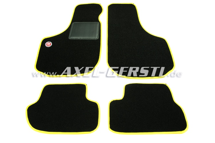 Set of foot mats Fiat (yellow/black) with logo, small