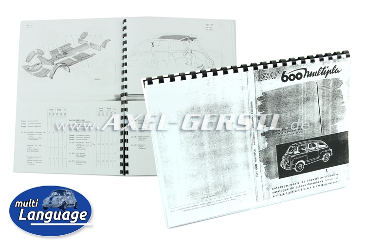 Catalogue de pièces de rechange/copie, 63 pages DIN A4