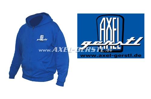 Hoodie jacket Axel Gerstl Classic Logo, blue, size L