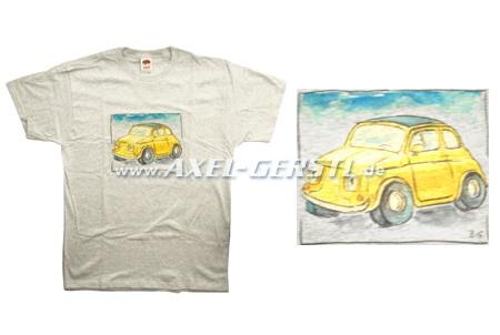 T-Shirt, Motiv Fiat 500 Comic (graues Shirt)