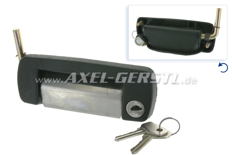 Door-handle/lock, right, chrome with cylinder & keys