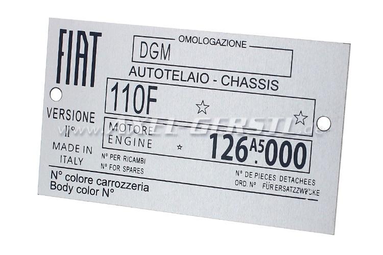 Fiat 110 R logo Type Plate, aluminum (126A5.000)