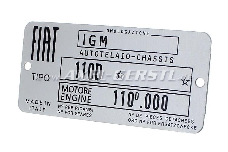 Targhetta identificativa FIAT 110 D in alluminio