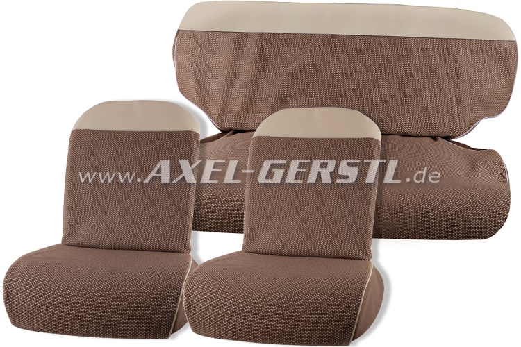 Seat cover brown/white top, fabric (vipla), front & back