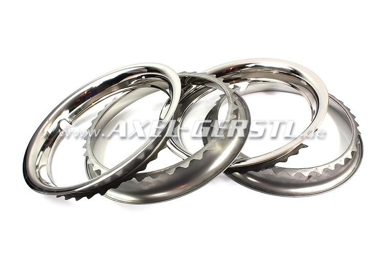 Wheel trim ring, 12, polished stainless steel, set of 4