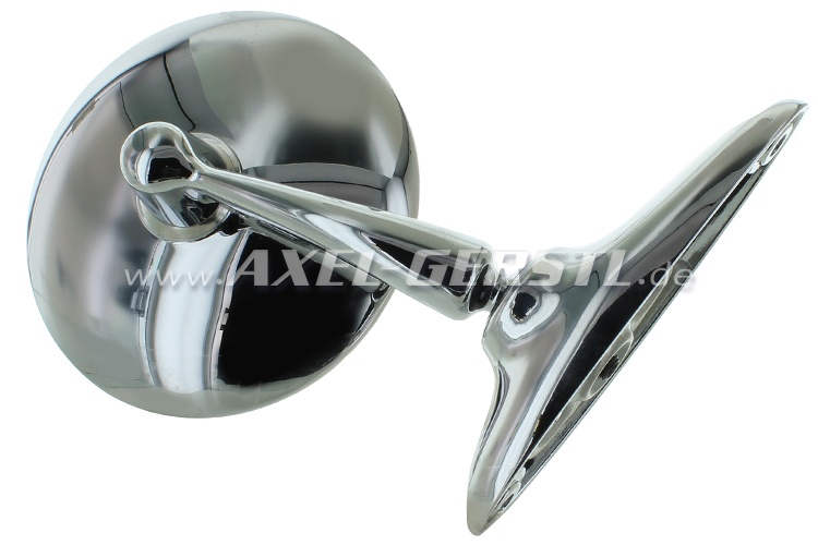 Wing mirror, door mounting right/left, chrome, round