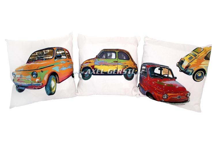 Lot de coussins (trois-pièces), Fiat 500, blanc, 42x42 cm