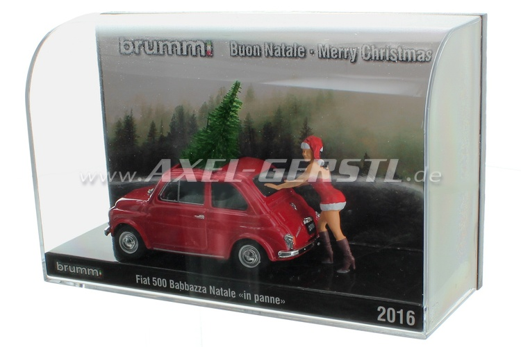 Model car Brumm Fiat 500 Babbazza Natale in panne 2016