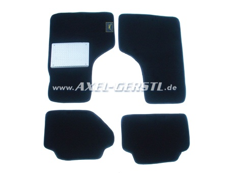 Set of foot mats, black with black rim, 4 pieces, alu plate