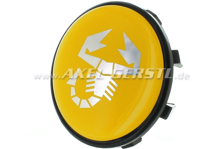 Couvercle de jante Abarth scorpion jaune, 47mm/50mm (centre)