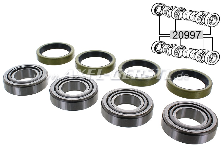 Set of rear wheel bearings for 2 sides