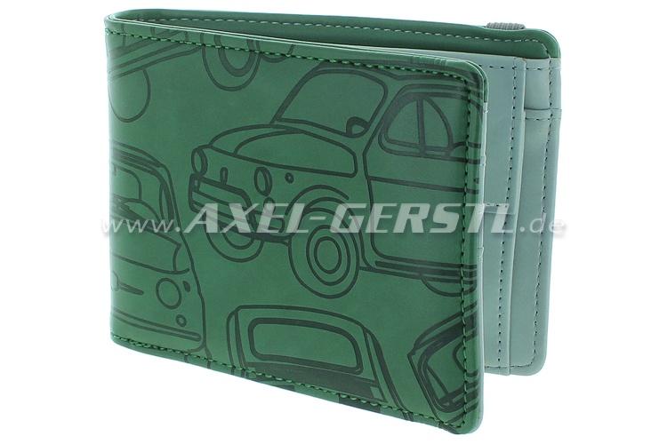 Portafoglio Fiat 500, fintapelle, 12x9cm, verde/grigio
