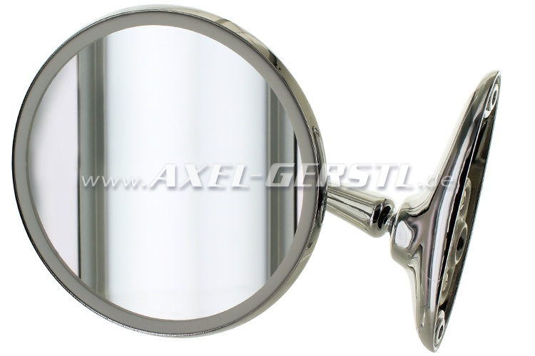 Wing mirror, door mounting right/left, chrome, round (long)