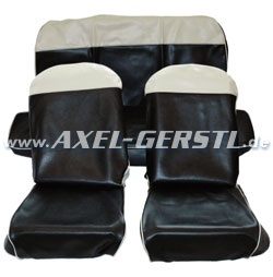 Seat cover black/white top, artificial leather, front & back