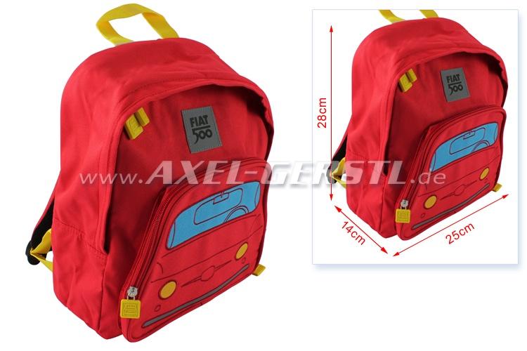 Sac à dos / sac tyrolien pour enfants, motif Fiat 500, rouge