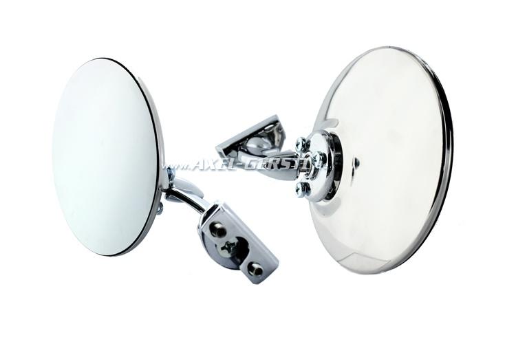 Mirror f. door rabbet mounting chrome, round, d=105 mm