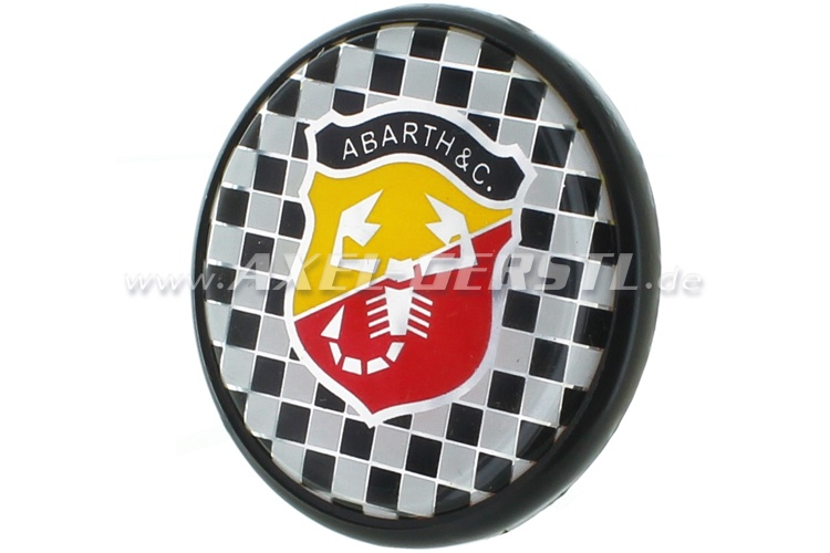 Abarth wheel cover, logo on check background, 55 mm