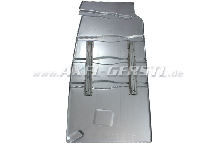 Floor pan with seat runners/rails, left, galvanized