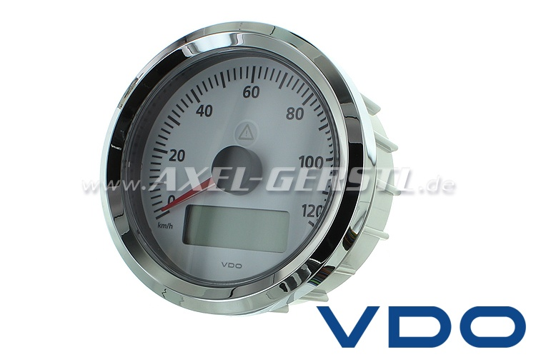 VDO speedometer, 90 mm, white dial, til 120 km/h