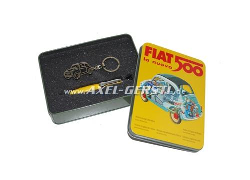 Boîte cadeau avec porte-clés et stylo à bille, jaune