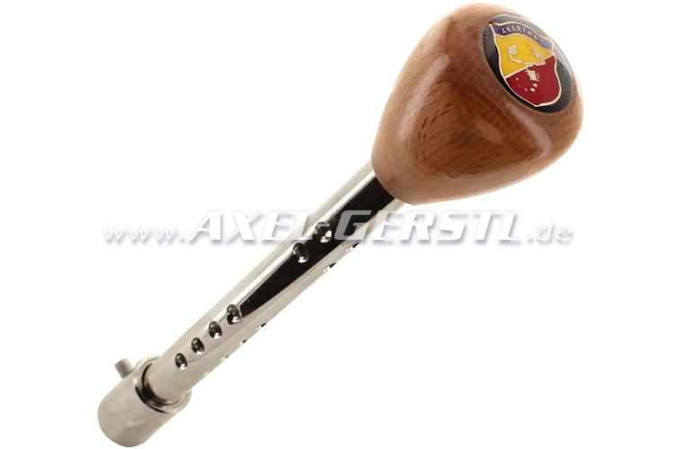 Gear shift knob, with knob Abarth, wood/chrome
