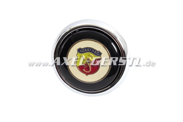 Abarth-Hupknopf incl. Taster & Button (Wappen auf weiß)