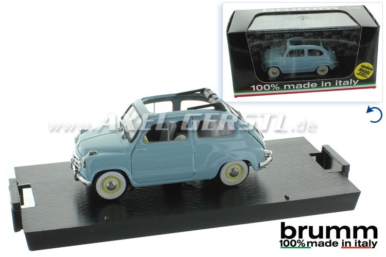 Modellauto Brumm Fiat 600 1. Serie, 1:43, hellblau / offen
