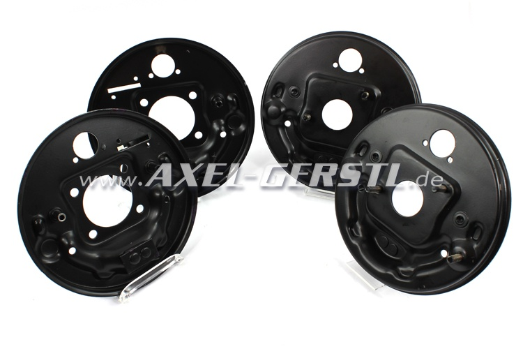 Brake backing plate set, 2x front & 2x back (4 pieces)