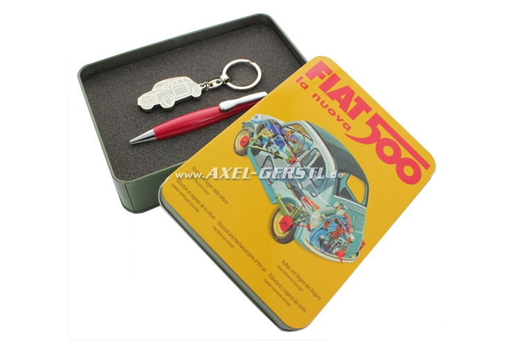 Gift box with key fob and ball pen red