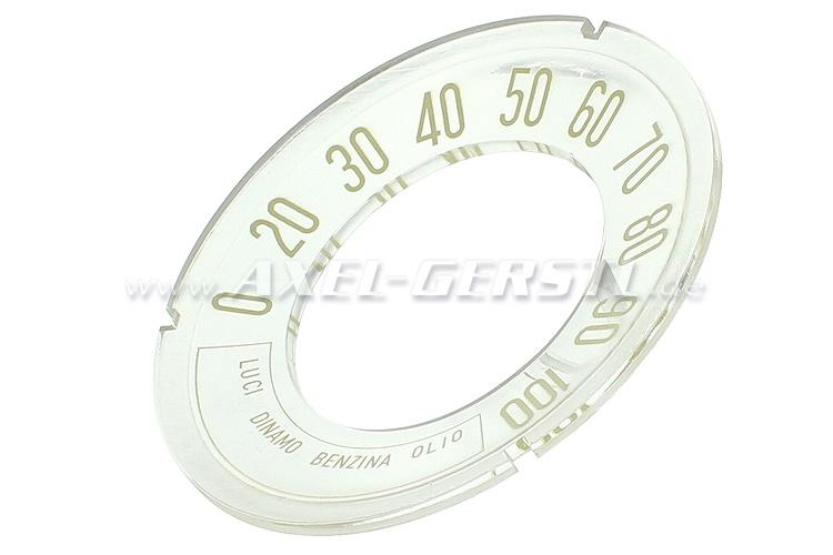 Zifferblatt f. Original-Tacho, Anzeige bis 100 km/h (konkav)