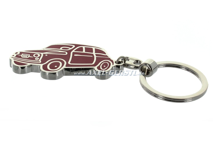 Key fob front and rear enamelled, red