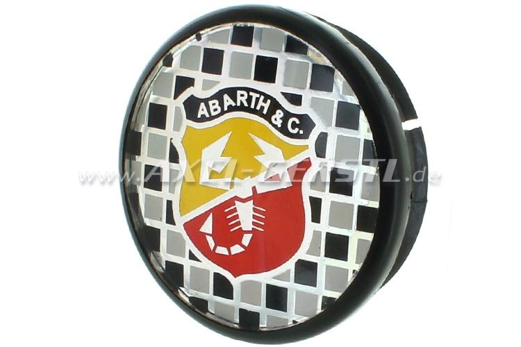 Coperchio ruota Abarth, blasone in sfondo quadri, 50 mm