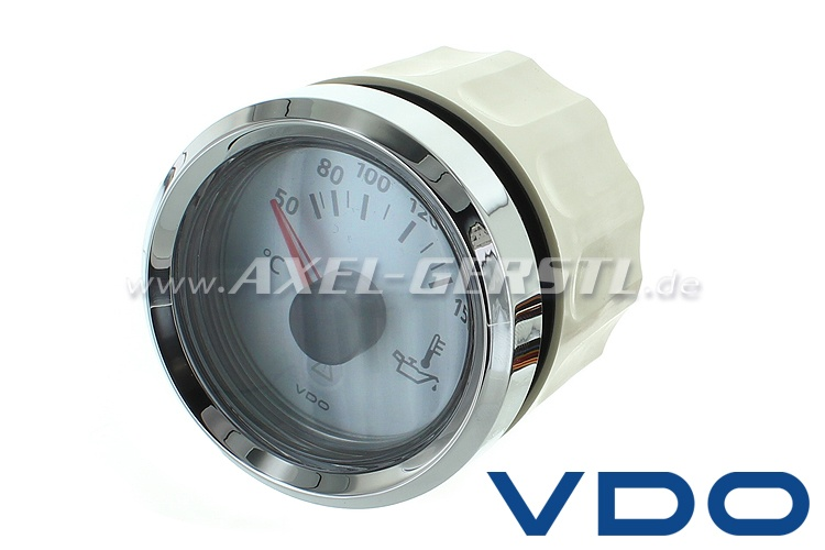 VDO oil temperature gauge, 52 mm with white dial