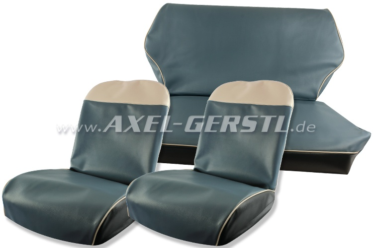 Seat covers, light blue artificial leather, front & back