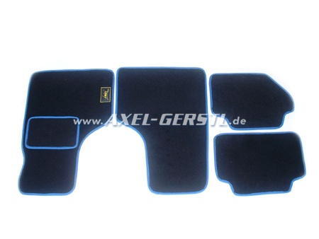 Set of foot mats, black with blue rim 4 pieces action-stop
