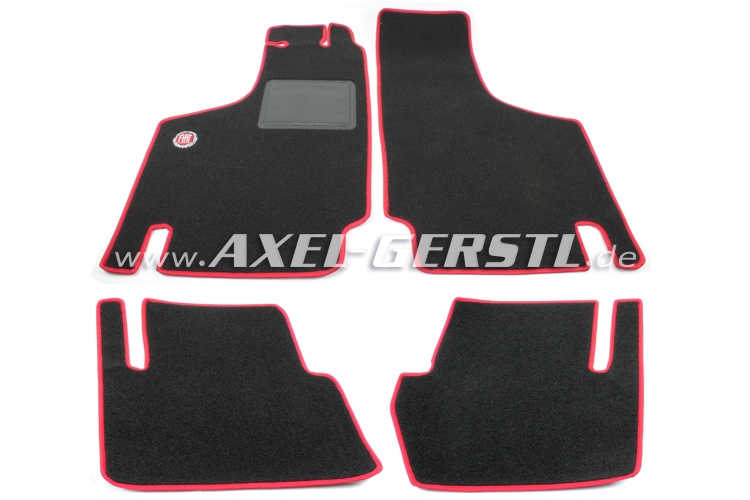Set of foot mats Fiat (red/black) exact fit, w. logo small