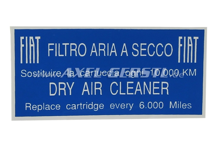 Sticker Filtro Aria for air filter housing 70 x 36 mm