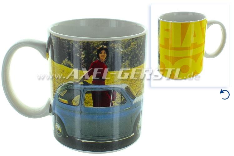 Tasse à café, avec photo de Fiat 500 -JAUNE-