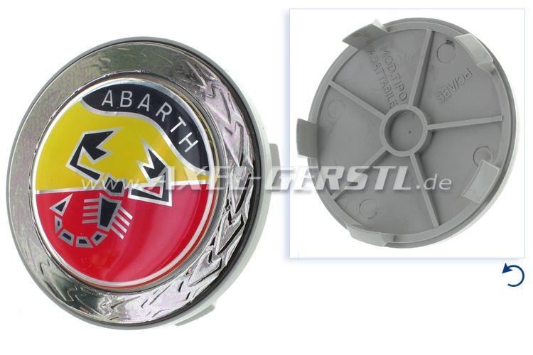 Coperchio ruota Abarth, blasone in corona dalloro, 68 mm