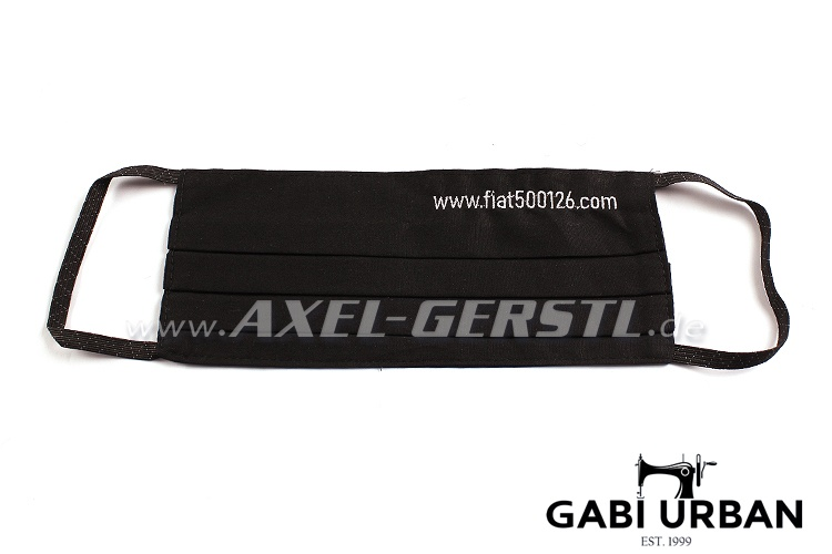 Face mask fiat500126.com with elastic band, black fabric