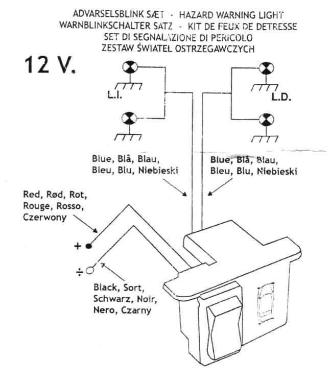 warnblinkanlage zum nachr sten inkl schalter fiat 500. Black Bedroom Furniture Sets. Home Design Ideas