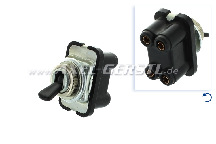 Toggle switch, 2st/4con, chrome/black, wiper/light/hazard