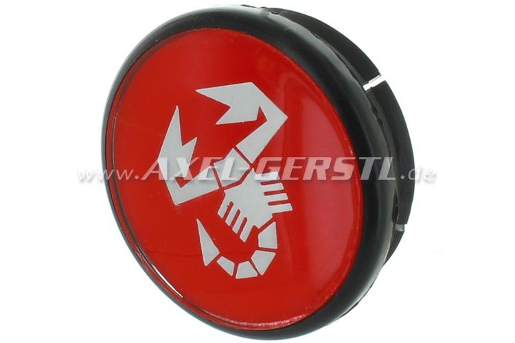 Coperchio ruota Abarth, rosso/scorpione 49 mm