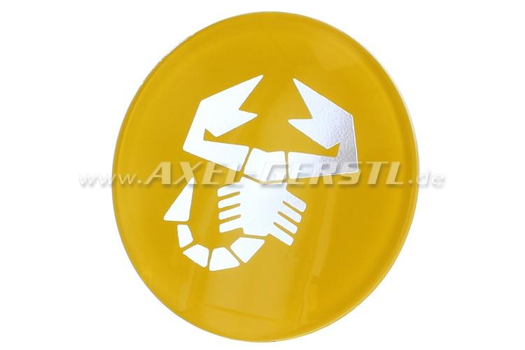Emblème Abarth scorpion, jaune, rond, pour coller, 60 mm