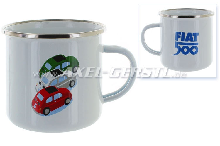 Fiat 500 cup, enamelled, white
